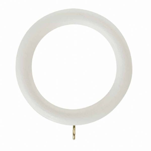 Rolls Honister 50mm Wooden Curtain Rings (Pack of 4) - Linen White